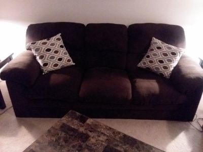 Chocolate sofa, love seat and ottoman