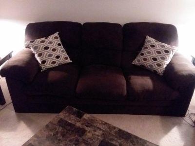 Chocolate sofa, love seat and ottoman