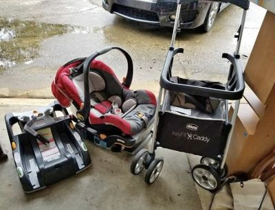 Caddy, car seat, and two bases