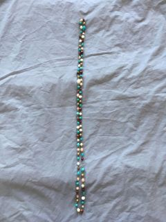 Long stone & wooden beaded necklace