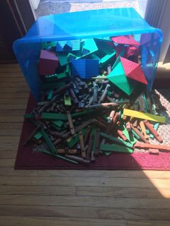 Large container of Lincoln logs