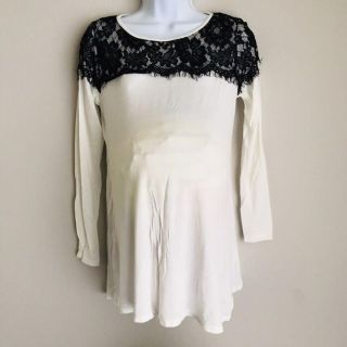 White with black lace maternity top