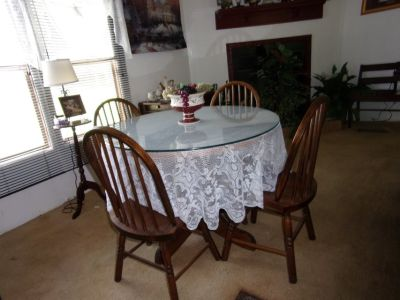 Solid Wood Round Table with Glass Top Over Wood Table Top with Four Chairs and Tilt Top Table