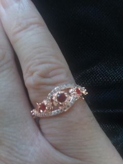RING Size 7 Rose Gold With Stamp 925 Silver With Ruby Red Gemstones with Whie Topaz Accents