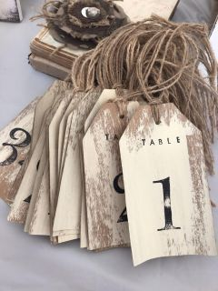 Table Numbers from 1 - 34 (complete) & Antique Book Table Decor