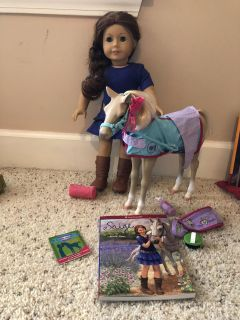 American Girl Doll, Saige with accessories shown