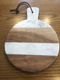 New Nordstrom Wood & Marble Cutting Board with Leather Hanger