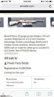 For Sale/Trade: Beware 479-353-7269