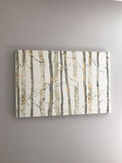 Canvas painting with birch wood and gold finishes