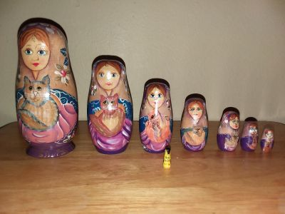 Handpainted Wood Nesting Dolls (Lady with cat)