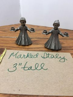 Pair of small heavy candle holders marked Italy Porch Pickup Marquette Hts Only