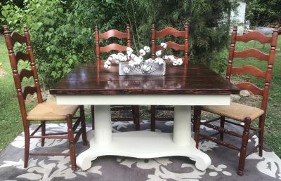 Gorgeous antique base table and chairs!