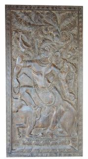 STOREWIDE FREE SHIPPING!!Antique Handcrafted Shiva on Nandi Yoga Barn Door Panel