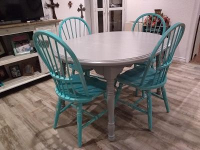 Adorable solid wood refinished shabby chic dining set