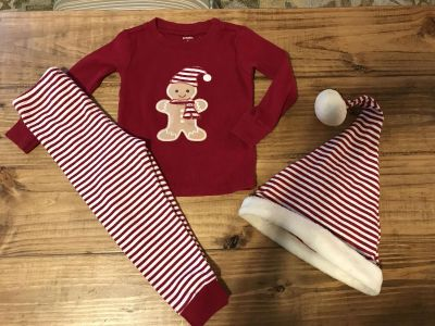 Gymboree 2T Christmas pjs (18mo-2T)& Santa hat. Guc, for stain on gingerbread hat and a couple spots on hats white trim , not too noticeable