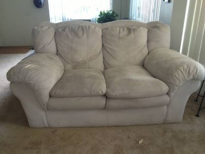 Microfiber whitecream couch  love seat  sofa