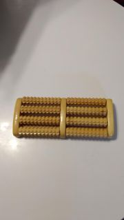 EUC, Evelyne wooden foot massager, health/stress/ache relief/relaxer. Four raw wood rollers. Retails for $18.00. Asking $12.00