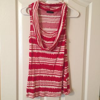 Red and white cowl neck top. Super soft! Small