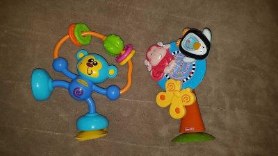 Suction cup set of monkey toys for table/high hair tray