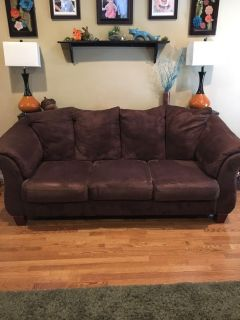 Chocolate Colored Couch and Loveseat - Good Condition!