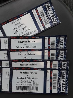 Astros Tickets(345.00) value with parking pass
