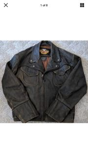 Very Rare ! Harley-Davidson Winged Distresses Leather Jacket Size ( L )