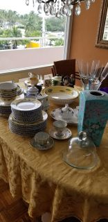 Assorted kitchenware with full set of dishes