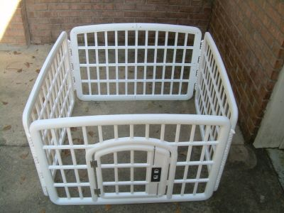 PLASTIC 4 PANEL PUPPY PLAY YARD WITH DOOR--STILL AVAILABLE