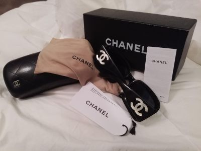 Chanel Sunglasses (Black) with Mother of Pearl Logo