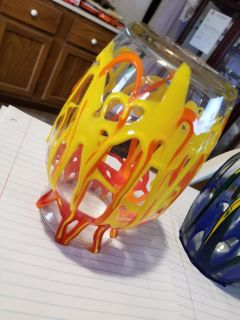 Hand painted abstract art vases