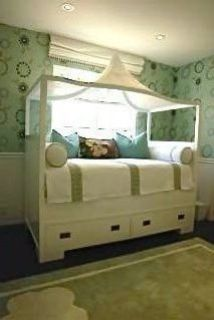 An Amazing Twin Size Designer Custom-Made Cane Canopy Bed with Storage Drawers