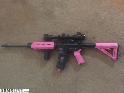 For Sale: DPMS AR-15 .223/5.56 with Pink Magpul Furniture