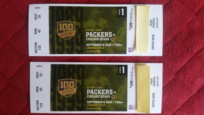 Two Tickets to Packers Bears game on September 9th