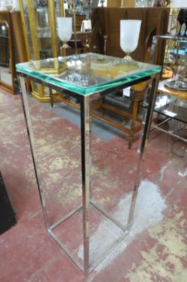 Vintage Mid century chrome and glass pedestal