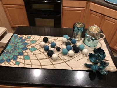 Assorted Christmas decor. Or for anytime actually. Blues and traps. Table runner is heavy with seed beeds-same on both ends, @5 1/2 feet