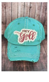 DISTRESSED TURQUOISE 'HEY Y'ALL' CAP