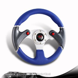 Find JDM 6-Holed 320mm Blue PVC Leather Racing Steering Wheel Nos Button For HONDA motorcycle in Rowland Heights, California, United States