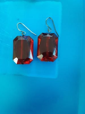 RUBY RED EMERALD CUT FRENCH HOOK EARRINGS