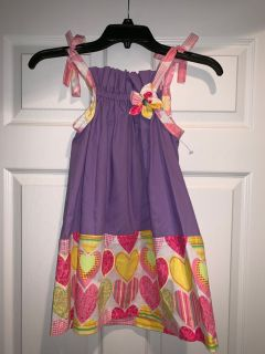 Custom Made Boutique Tie At The Shoulders Dress, Size 4T