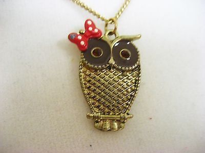"gold tone antiqued owl bow girl bird night 16"" tone necklace fashion trendy"