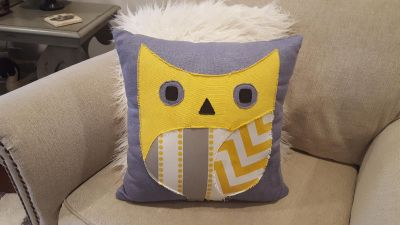 "Owl Pillow by Chooty & Co. 17"" x 17"". Grey Sensations Collection. Comes from Pet and Smoke Free Home."