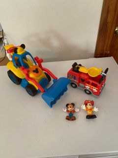Mickey Mouse tractor and fire truck