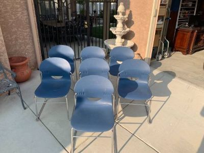 Set of 7 Virco Stackable Chairs