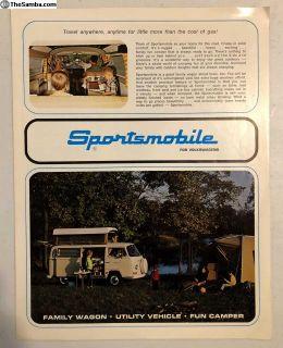 VW BAY WINDOW Sportsmobile Brochure RARE