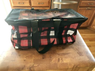 Thirty One large plaid tote with see through lid