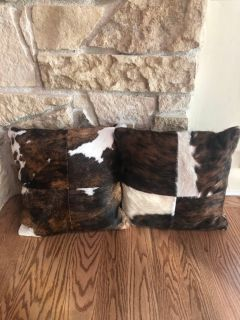 2 REAL Hair on hide Accent Pillows