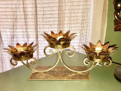 Large Metal Three Candle Holder. Heavy Holds Wide Candles