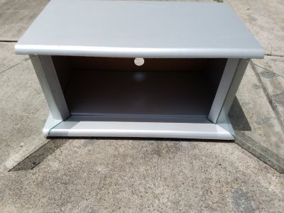 "Silver/Gray Wooded TV Stand 14""x22""x26"""