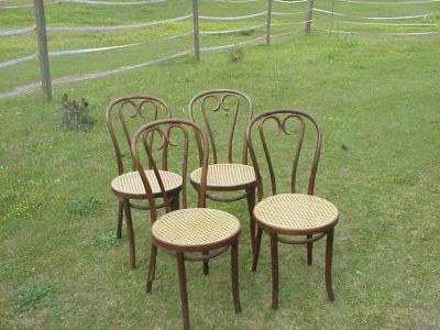 FOUR ICE CREAM CHAIRS CANE BOTTOMS EXCELLENT