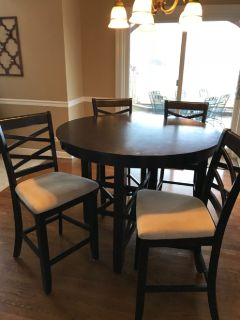 Table, four chairs, counter height